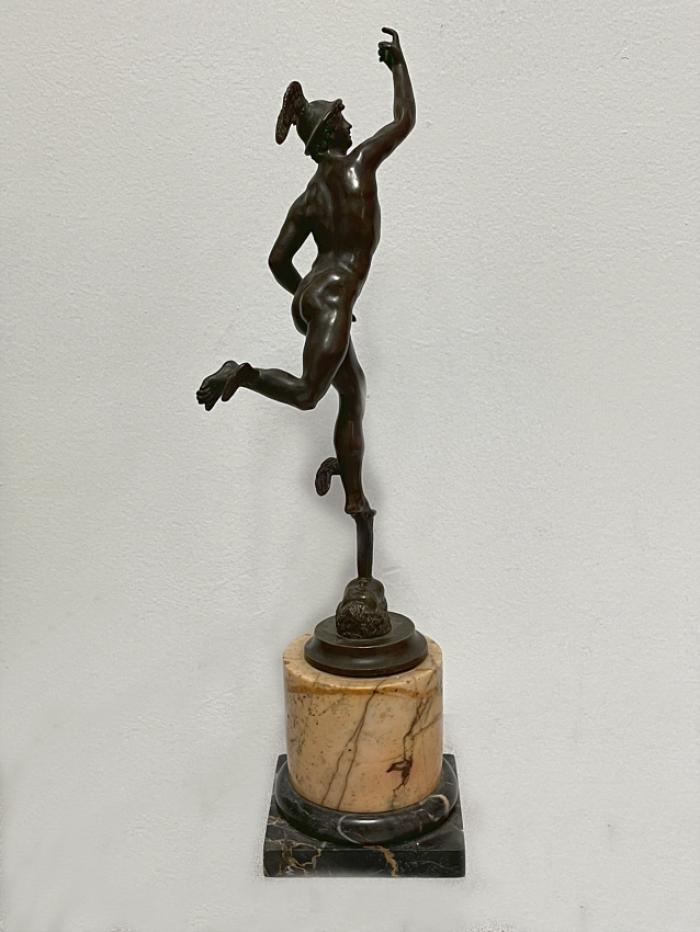 Antique bronze figure of Mercury on marble base c1900