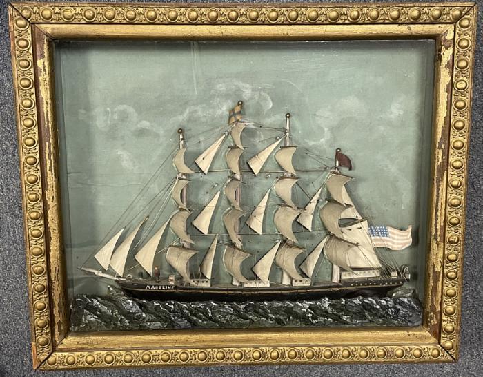 Antique 19thc ship diorama in shadow box frame