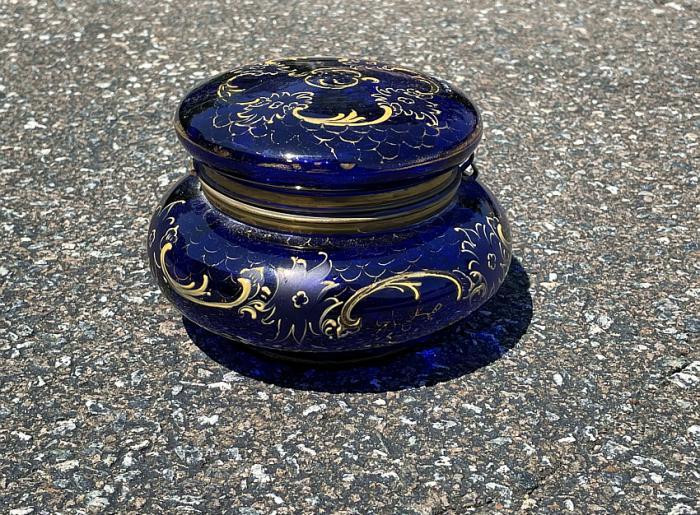 Antique cobalt glass vanity jar c1880