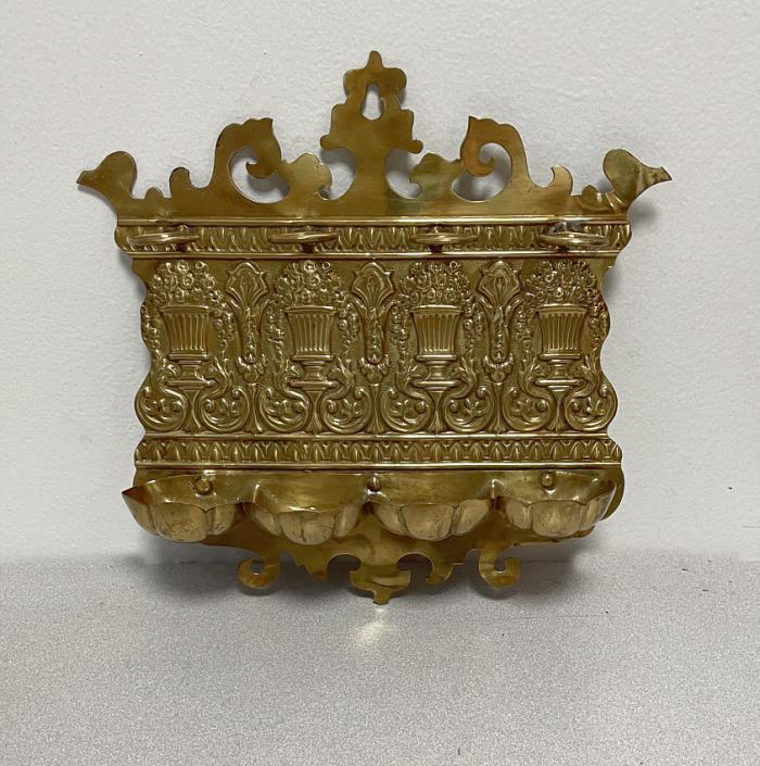 English Victorian brass pipe rack c1880