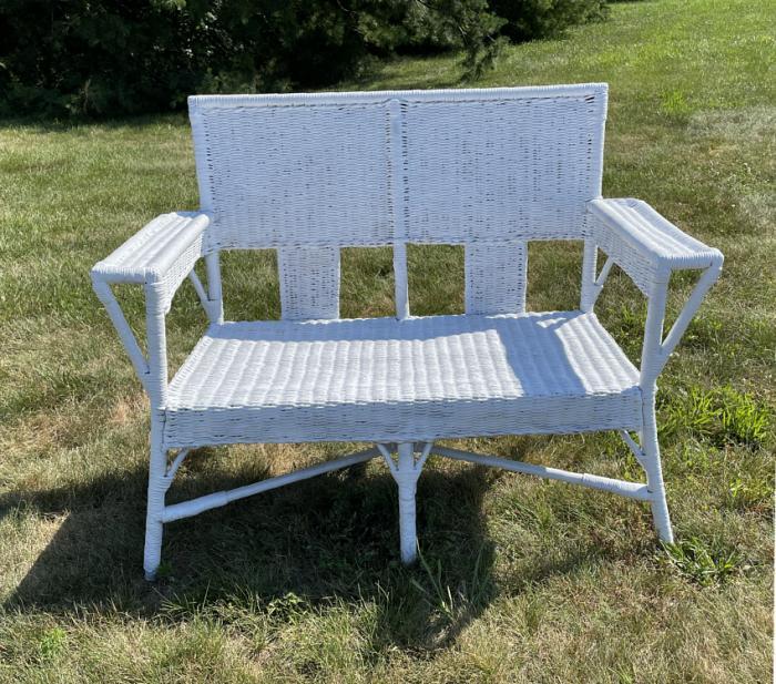 Antique Victorian whiter wicker porch settee c1880