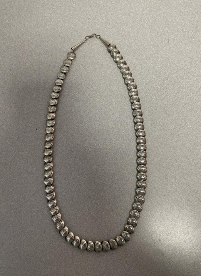 Native American Navajo silver beaded necklace