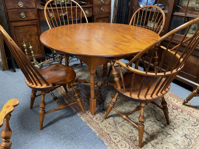 D R Dimes round tiger maple dining table