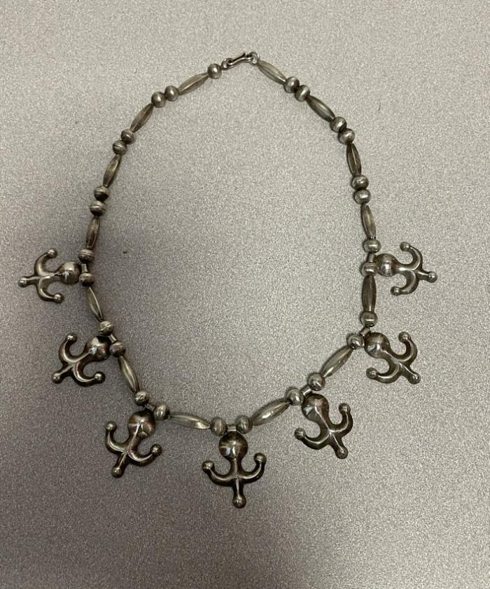 Native American Navaho sterling silver Yei figure necklace