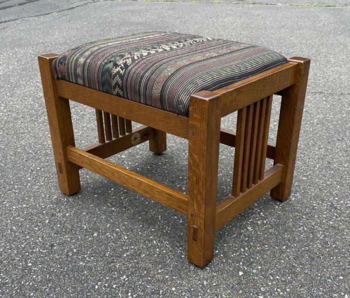 Vintage Stickley oak footstool Number 35