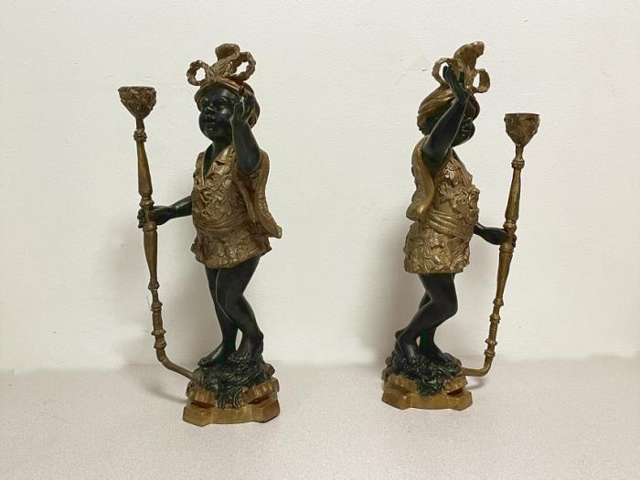 Venetian bronze blackamoor pair of figures