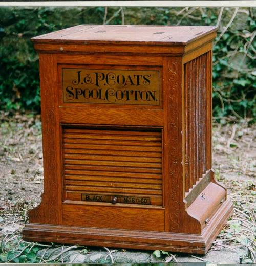 J and P Coats spool cotton sewing cabinet