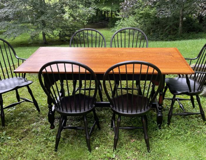J L Treharn tiger maple dining table