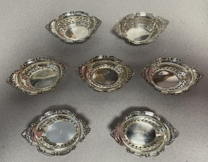 Set of 7 sterling silver nut dishes
