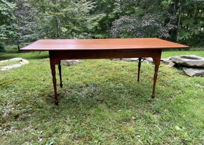 Early D R Dimes pine dining table stamped Old Sturbridge Village