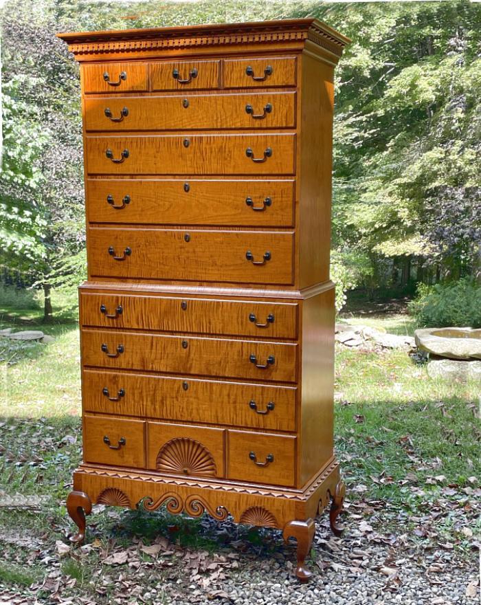 Eldred Wheeler Dunlap School tiger maple chest on frame