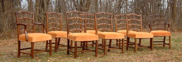 Eight philadelphia ribbon back dining chairs