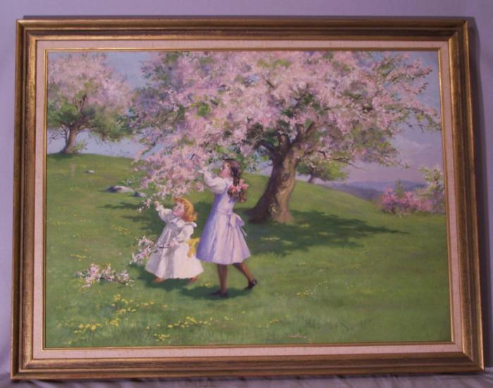 Fannie Burr oil painting of children c1880