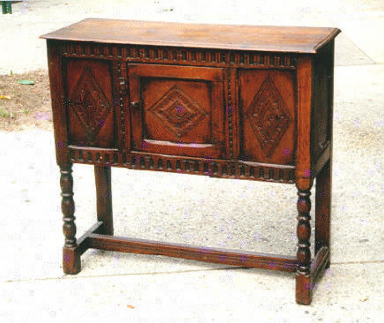 Period Antique English diminutive oak sideboard pegged