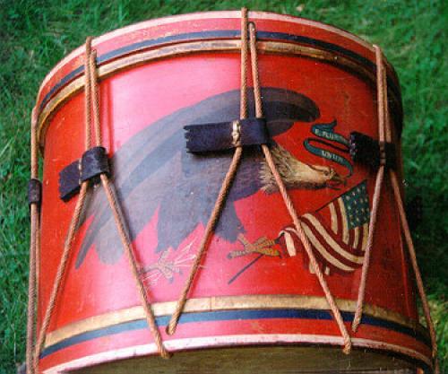 Original Civil War drum painted with an eagle