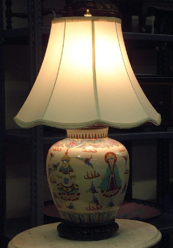 price my item value of chinese ceramic buddha lamp c1870. Black Bedroom Furniture Sets. Home Design Ideas