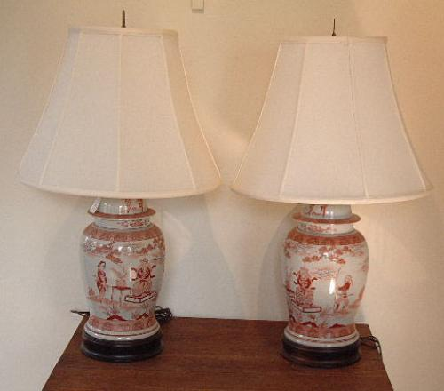 price my item value of antique pair of chinese urn shaped lamps. Black Bedroom Furniture Sets. Home Design Ideas