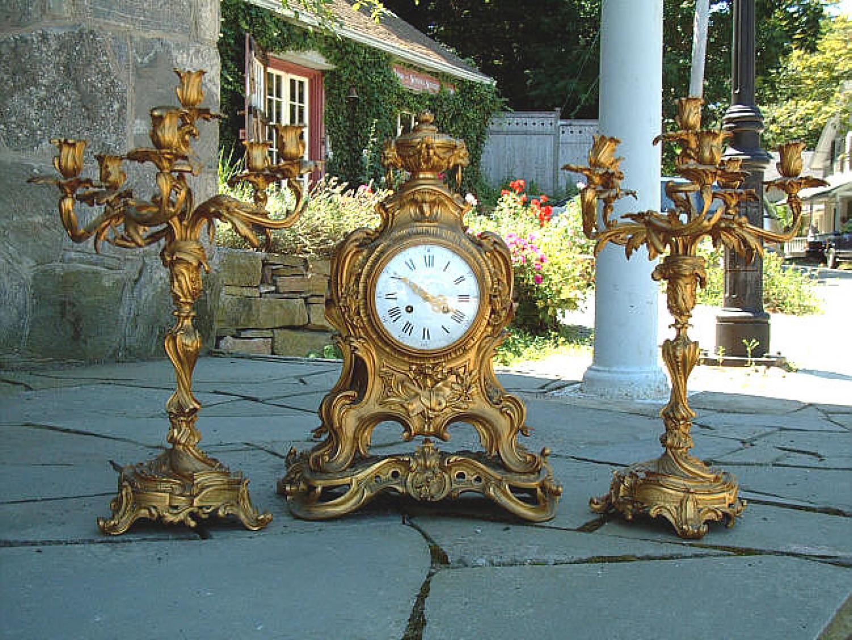 Antique French Gilt Brass Louis XV Mantel Clock
