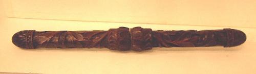 Antique carved wood knitting needle case