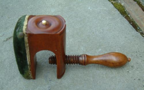 Antique sewing clamp cherry pin cushion