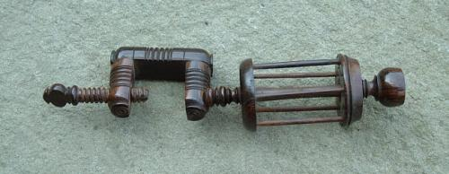 Antique rosewood yarn winder sewing clamp