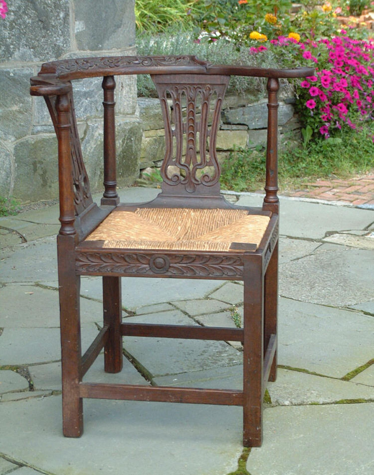 Antique English Oak Corner Chair circa 1760 to 80
