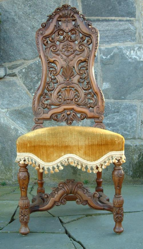 Antique German carved walnut side chair