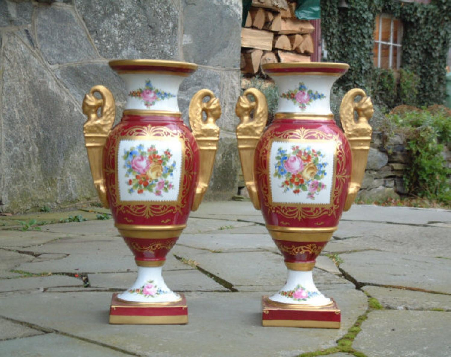 Limoges pair Empire style porcelain urns