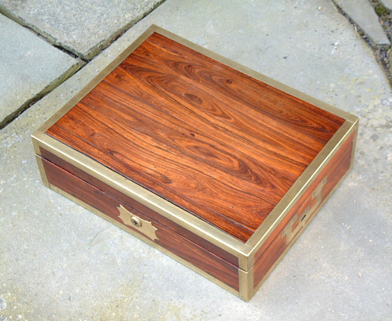Antique mans toilet box rosewood and sterling