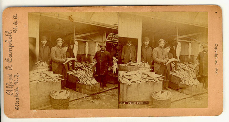 Stereoview of black or negro men fish store