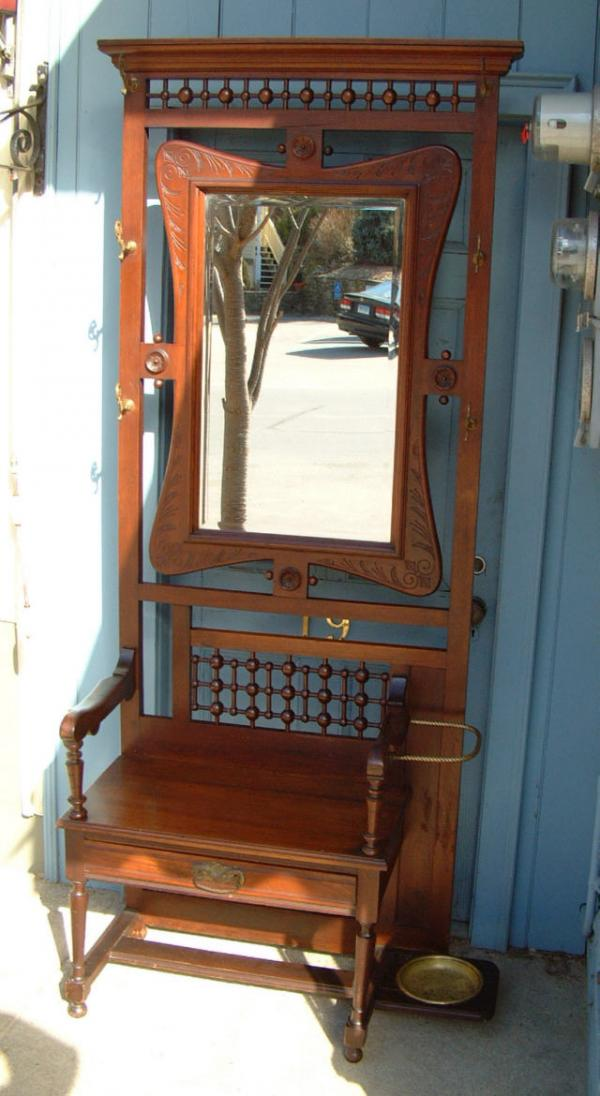 Antique Victorian Mahogany Hall Tree In Eastlake Ball And