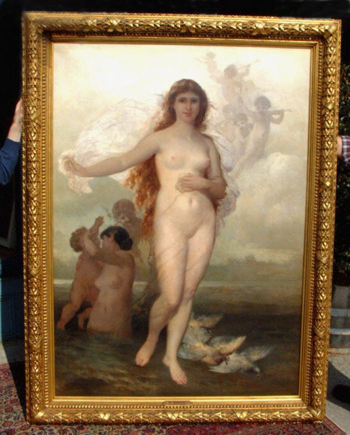 Wilhelm Kray antique oil painting Venus Aphrodite