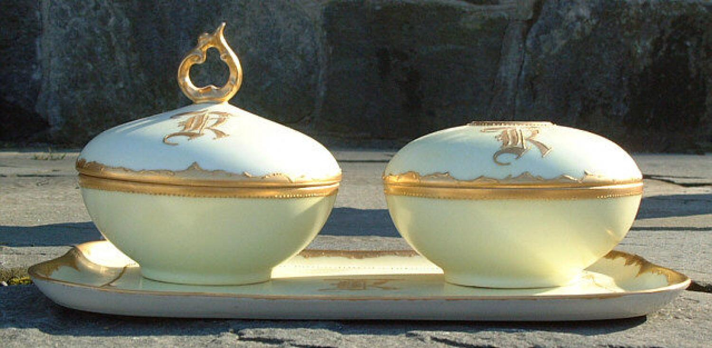 Antique 3 piece Porcelain Limoges Dresser Set