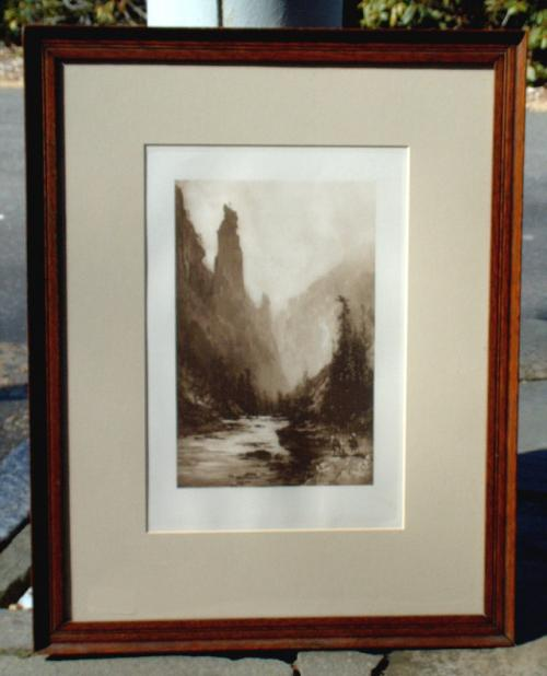 Photogravure after a Painting of Sentinel Rock in Yosemite Park by Thomas Hill