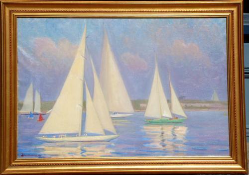 Helena Sturtevant Ranger oil on canvas Painting Newport Harbor