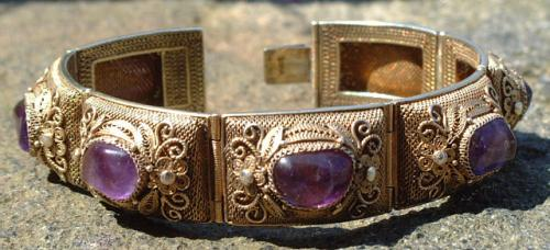 Antique Indian Sterling Silver and Amethyst Bracelet circa 1870 to 1890