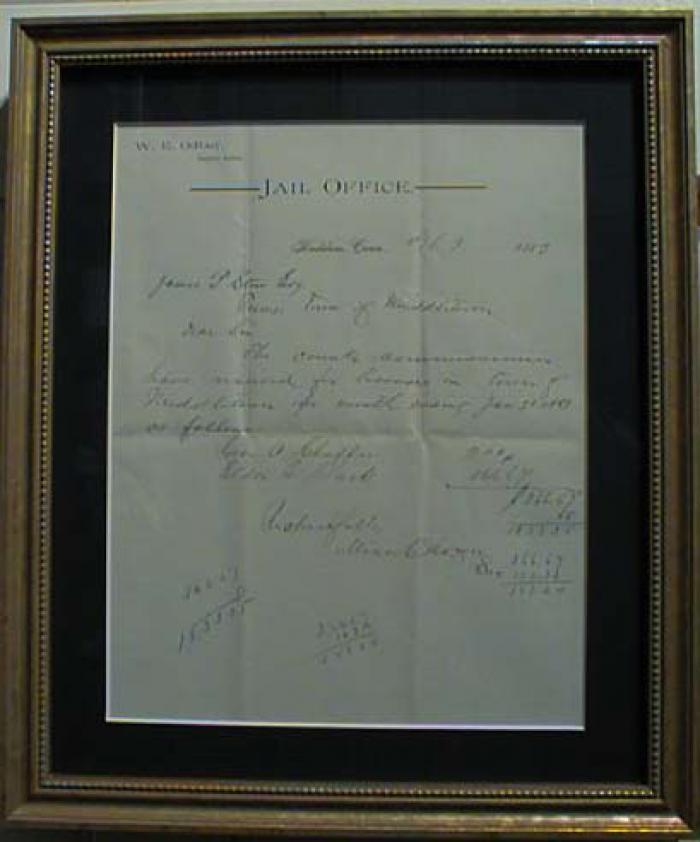 Antique Document 1883 Jail Report