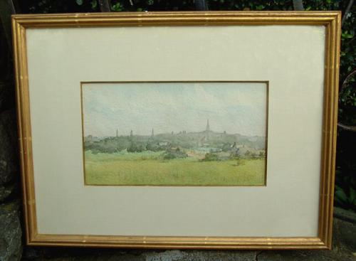 Antique Burr Watercolor of New Haven Skyline circa 1900