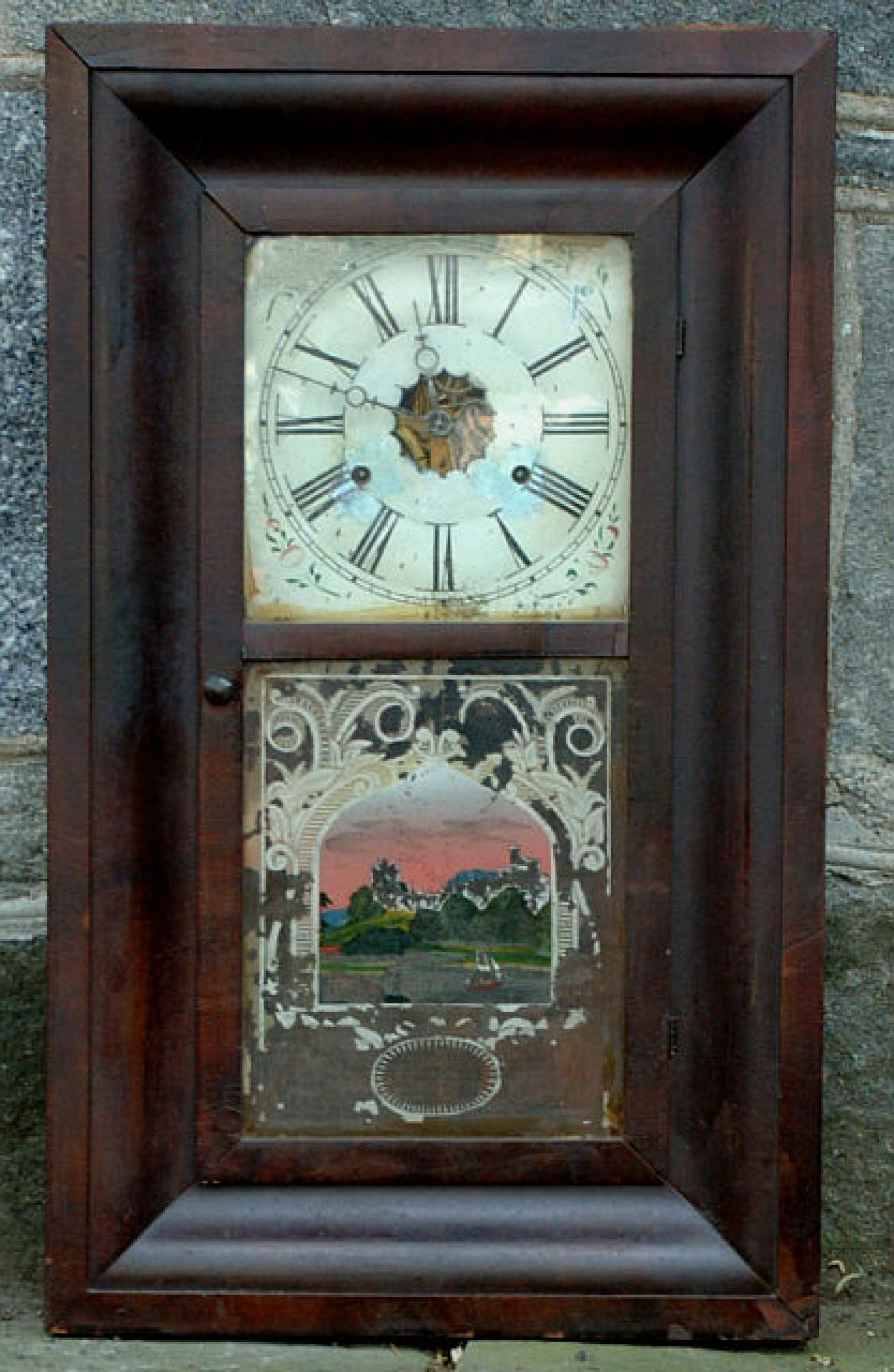 Antique American Reverse Painted Glass Panel Ogee Clock