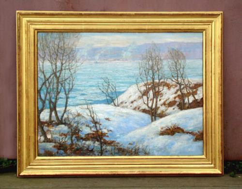 Vintage Oil on Board White Blanket on the Hudson by Samuel Mathet
