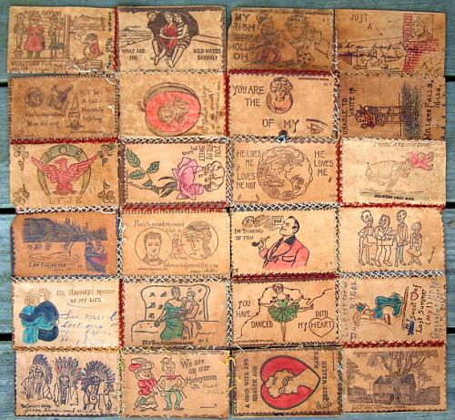Antique Set of 24 vintage novelty and souvenir leather postcards
