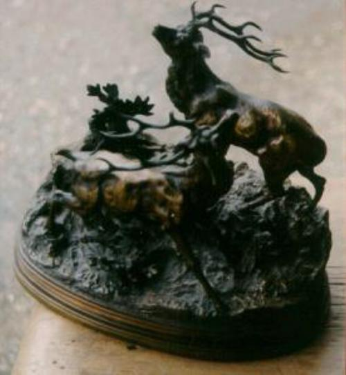 French bronze 2 stags by f. J. Pautrot
