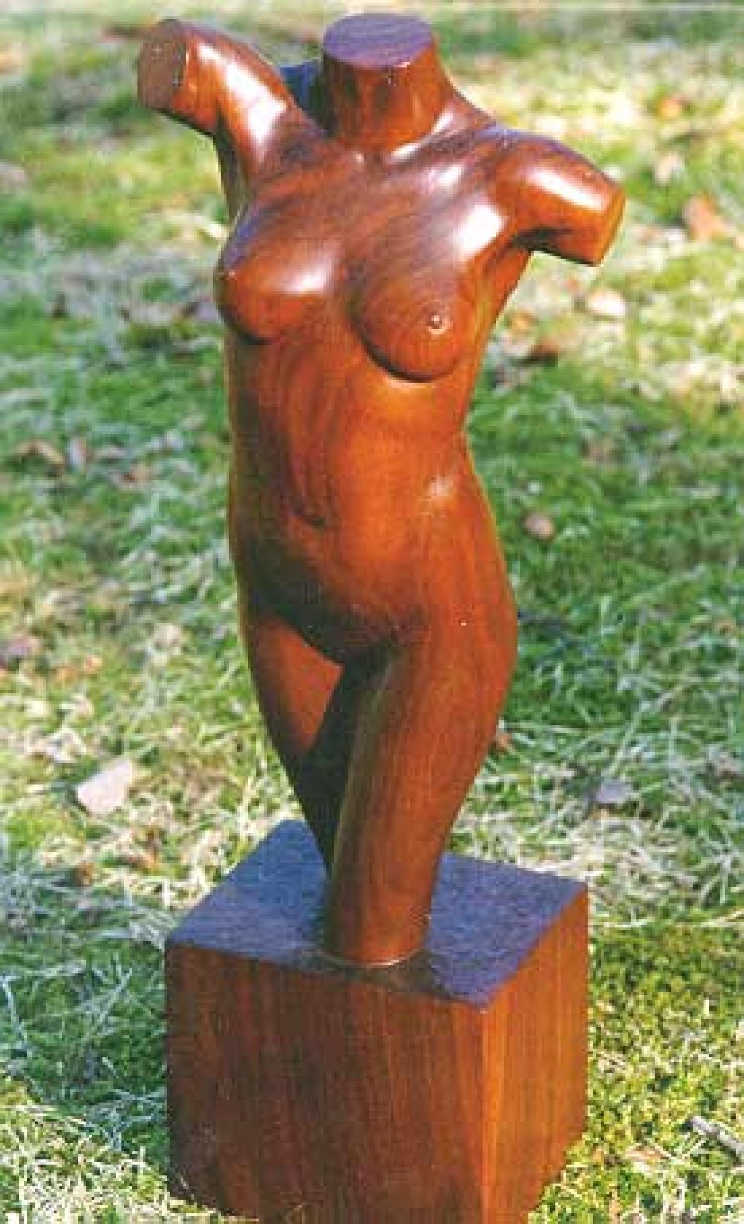 Sculpture nude female torso wood carving