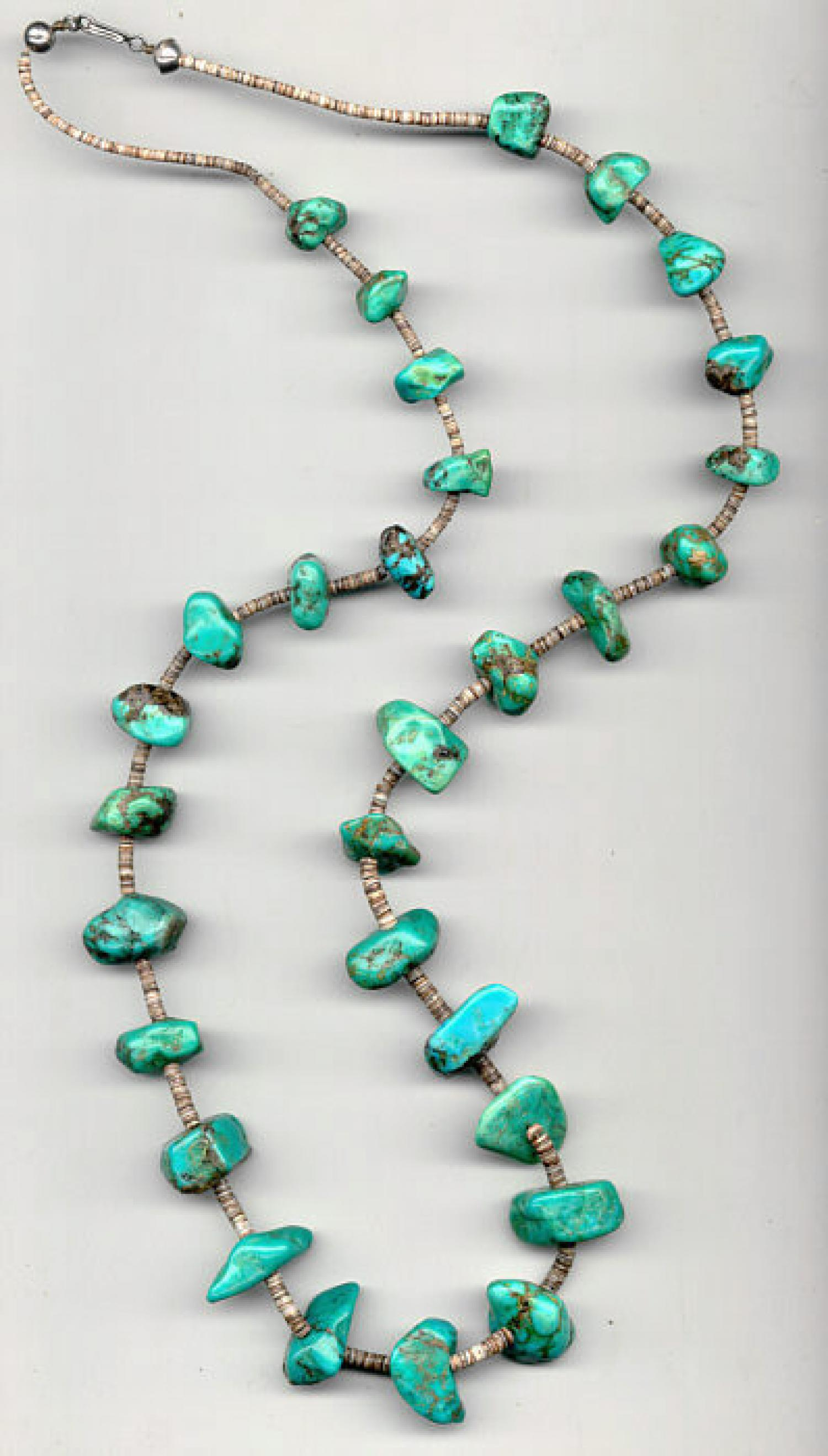 Vintage native american jewelry turquoise necklace for Southwestern silver turquoise jewelry