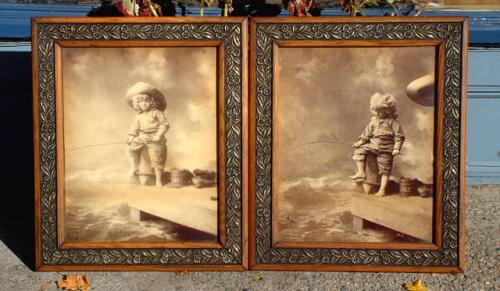 Vintage Pair of Signed Guerin ST Louis Little boy fishing Photgraphs in Original Frames