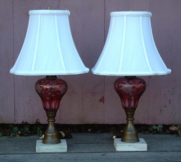price my item value of antique 19th century cranberry glass pair of electrified oil lamps. Black Bedroom Furniture Sets. Home Design Ideas