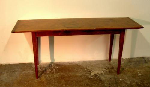 Single board pine hand hewed and pinned sofa table