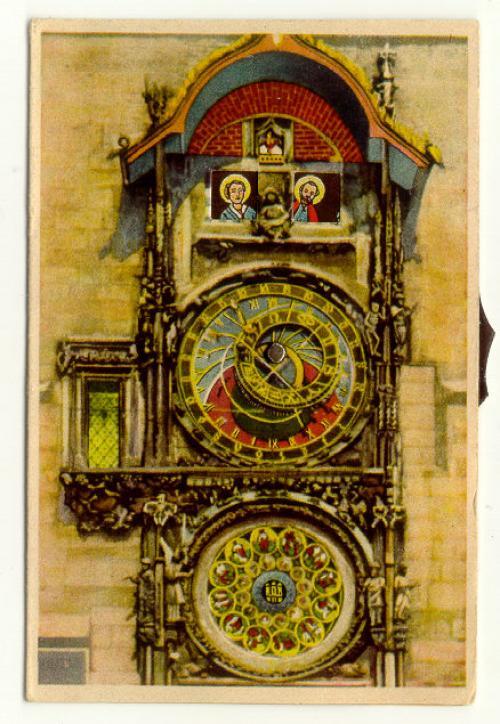 Antique mechanical post card of Prague