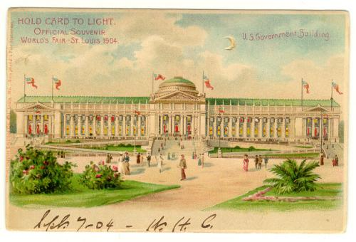 Hold to light Worlds Fair Post Card 1904