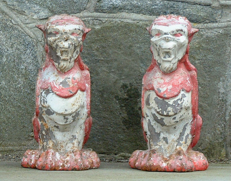 Antique Cast Iron Gargoyle Figures